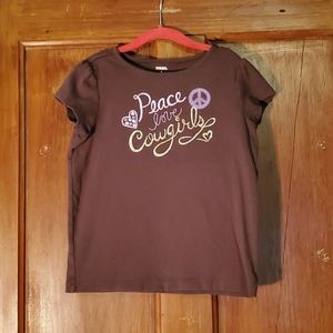 """Gymboree Brown """"Peace Love Cowgirls"""" Tee Size 9"""